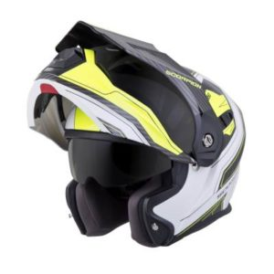 scorpion exo at950 tucson white neon adventure helmet front