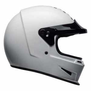 Bell eliminator motorbike helmet gloss white no visor side view