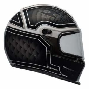 Bell eliminator outlaw motorbike helmet black white side view