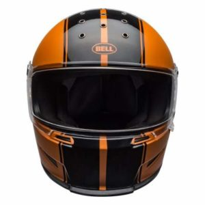 Bell eliminator rally crash helmet orange black front view