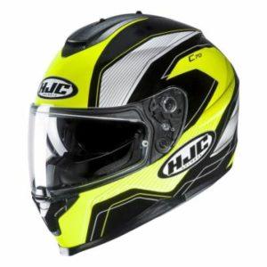 HJC C70 lianto hi viz motorbike crash helmet side view