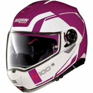 Nolan N100-5 consistency fuschia kiss motorcycle helmet side view