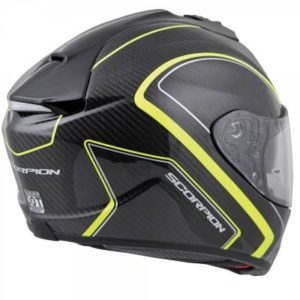 Scorpion exo-st1400 hi viz yellow antrim carbon helmet side rear view