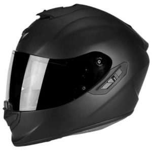 scorpion exo 1400 matt black composite helmet side view