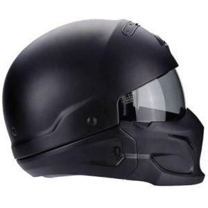 scorpion exo combat matt black motorbike helmet side view