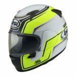 arai profile v bend motorcycle helmet hi viz side view