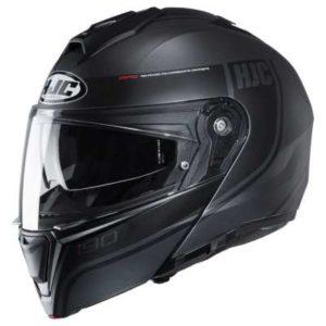 HJC I90 davan matt black crash helmet side view