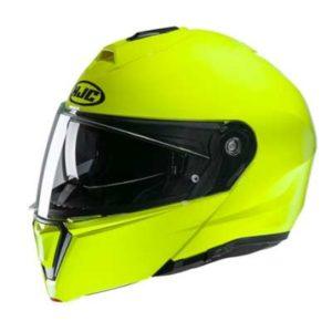 HJC I90 fluo hi viz green crash helmet side view