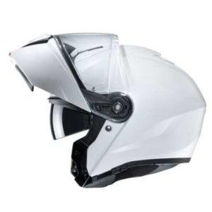 HJC I90 solid gloss white modular helmet side view