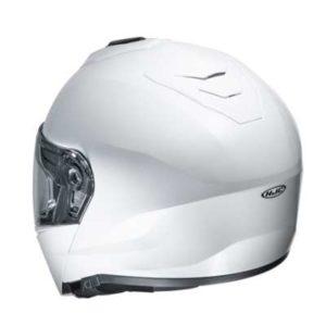HJC I90 white modular crash helmet rear view