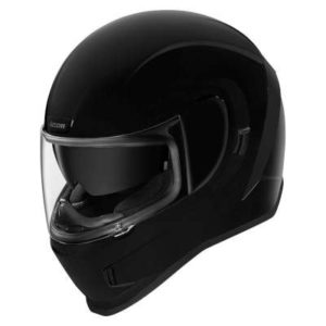 gloss black icon airform crash helmet front view