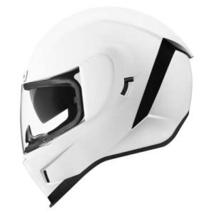 gloss white icon airform motorcycle crash helmet profile view