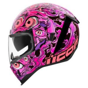 icon airform illuminatus pink crash helmet side view