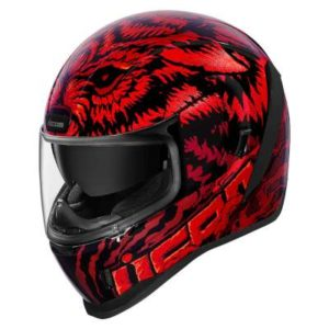 icon airform lycan red motorbike helmet front view