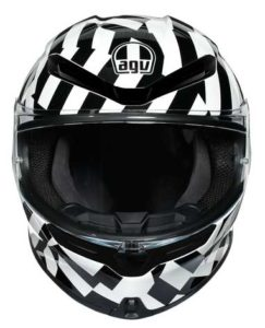 AGV-K6-Secret-black-white-crash-helmet-front-view