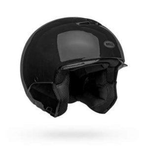 bell broozer gloss black modular helmet no chin bar side view