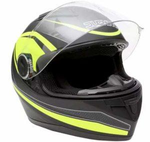 Duchinni D705 syncro black neon crash helmet front view