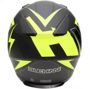 Duchinni D705 syncro black neon full face helmet rear view