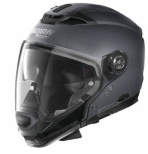 Nolan N70-2 GT flat graphite grey helmet side view