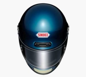 shoei glamster lagua blue helmet top view