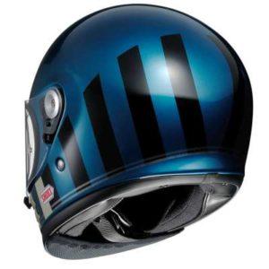 shoei glamster resurrection blue helmet rear view