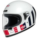 shoei glamster resurrection white retru crash helmet side view