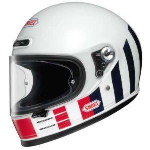 shoei glamster resurrection white retru crash helmet side view