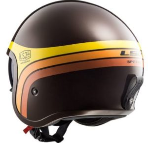 LS2 Spitfire Sunrise open face motorbike helmet rear view