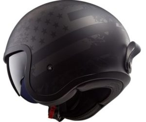 LS2 Spitfire black flag motorcycle crash helmet side view