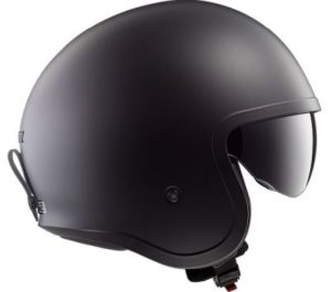 LS2 Spitfire crash helmet matt black side view