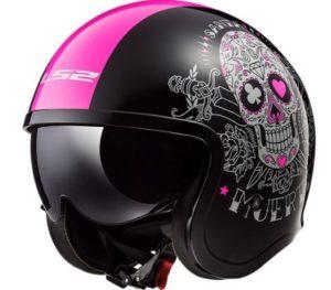 LS2 Spitfire pink Muerte open face helmet front view