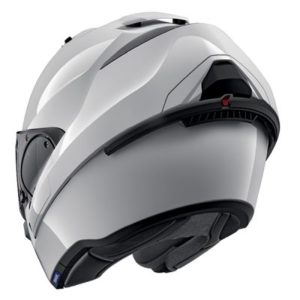 Shark Evo ES gloss white helmet chin bar back rear view