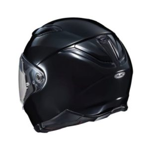 hjc f70 gloss black full face helmet rear view