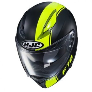 hjc f70 mago black hi viz full face helmet top view