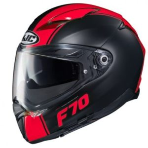 hjc f70 mago orange red crash helmet side view