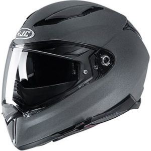 hjc f70 plain stone grey crash helmet side view