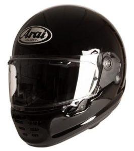 arai rapide gloss black motorbike helmet front view