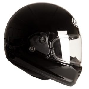 arai rapide gloss black motorbike helmet side view