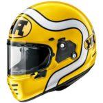 arai rapide ha yellow motorcycle helmet side view