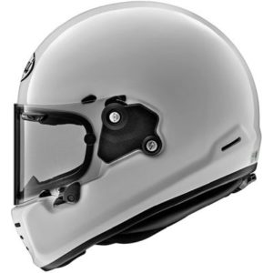 arai rapide motorbike helmet in gloss white side view