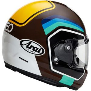arai rapide number brown retro motorbike helmet rear view