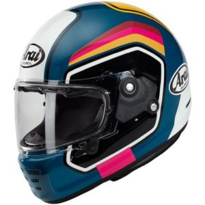 arai rapide number retro motorbike helmet in blue side view