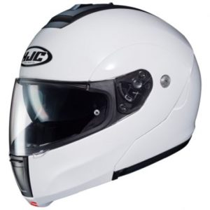 hjc c90 flip up helmet in gloss white side view