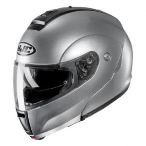 hjc c90 modular helmet metallic silver side view