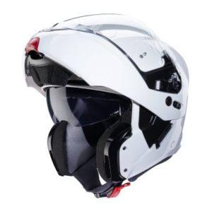Caberg Horus gloss white flip up motorbike helmet front view
