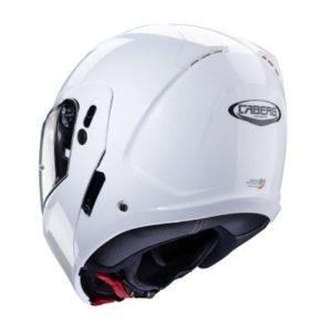 Caberg Horus gloss white flip up motorbike helmet rear view