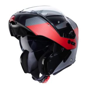 Caberg Horus scout red grey black helmet open face view