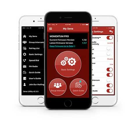 sena-momentum-bluetooth-helmet-apps
