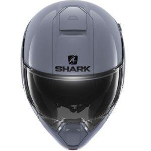 gloss grey shark evojet modular motorbike helmet front view