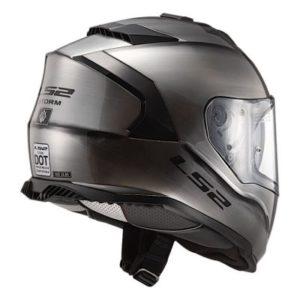 ls2 assault helmet in brushed alloy rear view